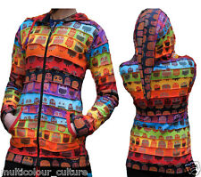 Womens Top Rainbow Owl Printed Out Stitched Pointy Hippie Hoodie Festival Jacket