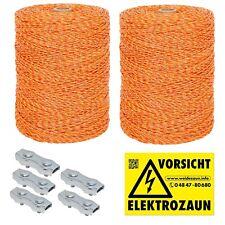 2000m Weidezaunlitze  + Verbinder und Warnschild gelb-orange 3x0,20 Niro
