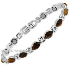 LADIES MAGNETIC HEALING BRACELET SILVER OVAL STONE BANGLE -ARTHRITIS PAIN RELIEF