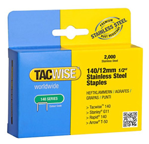Tacwise 140/12mm Stainless Steel Staples Box of 2000