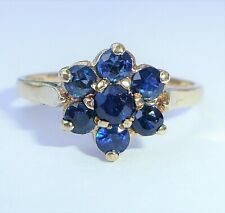 9ct Gold Sapphire Daisy Cluster Ring, Size M