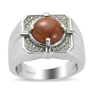 Caramel Opal Zircon Ring Platinum Plated Gift Jewelry For Men Size 14 Ct 3.1