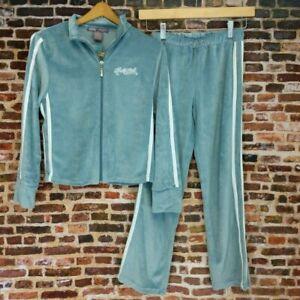 Hale Bob Velour Sweatsuit Girl's Size 12 Baby Blue Track Suit Tags Vintage 00's