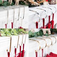 GEX Set of 4 Christmas Stocking Holder Hook Fireplace Hanger Gold/Silver NonSkid