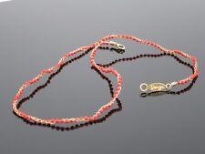"""Vintage Designer Natural Red Coral Bead 14K Gold Woven Necklace, 3.3g, 15.5"""""""