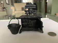 Coin Savings Bank Cast Iron DOT Stove Vintage Miniature & Iron Bucket Dollhouse