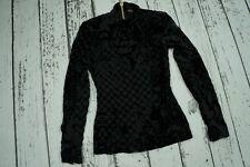 NEW Balmain H&M Silk Blend Velvet Velour Georgette Blouse Top Black US 2 EUR 32