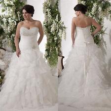 2018 Plus Size Wedding Dress Organza A-Line White/Ivory Bridal Gown Custom 2- 26