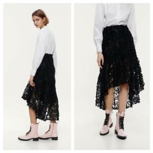 Zara Asymmetric Lace Skirt S 8 Black Floral Flower Maxi Boho Ruffle 4530/150/800