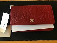 NEW With Tags Chanel Camellia Wallet on Chain RED Calfskin AUTHENTIC WOC