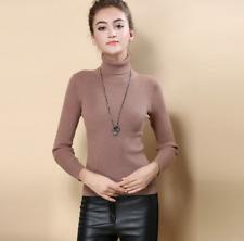 Women Cashmere Sweater Autumn Winter Knitted Turtleneck Pullover Warm Wool