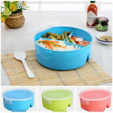 3 Compartments Bento Lunch Box Food Storage For Kids Adults Microwave w/ Spoon