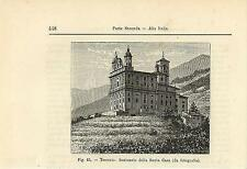Stampa antica TRESIVIO Santuario Santa Casa Valtellina Sondrio 1896 Old Print