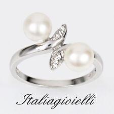 Romantico Anello Donna in Argento 925 rodiato Oro Bianco con Perle e Brillanti