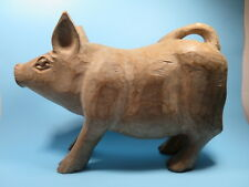 Antique Primitive Folk Art Hand Carved Wooden Pig Country Farmhouse