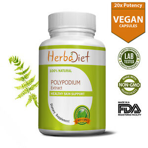 Polypodium Leucotomos (PLE) 20:1 Extract 500mg Capsules For Skin Immune Support