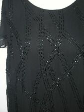 """NEW LOOSE FIT SHORT SLEEVE COCKTAIL BLACK CHIFFON + BEADED PARTY DRESS BUST 50"""""""