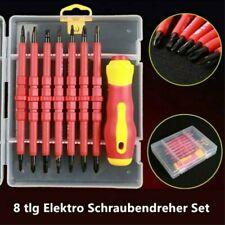 8 tlg Elektro Schraubendreher Set Elektriker Schraubenzieher isoliert mit Kasten