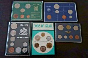 5 x Proof Coin Sets - Israel 1967, Malta 1972, Falkland Islands 1980, Nederland