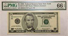 1999 $5 FIVE DOLLARS NEW YORK * STAR * 🌟 FRN, PMG GEM UNCIRCULATED 66 EPQ