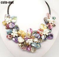 New multicolor baroque shell pearl 5 flower bloom necklace