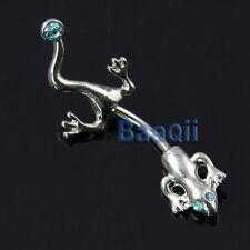 Body Piercing Gecko Lizard Blue Rhinestones Surgical Steel Bar Belly Navel Ri MA