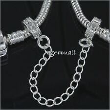 Sterling Silver Rubber European Charm Bracelet Stopper Safety Chain #51821
