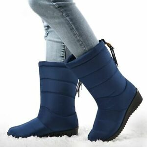 Mid Calf Down Waterproof Winter Boots Snow Wedge Rubber Plush Ankle Warm Bootie