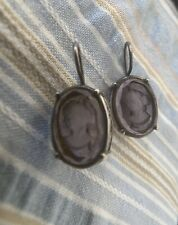 Extasia Amethyst Oval Glass Intaglio Cameo Silver Tone Pierced Earrings