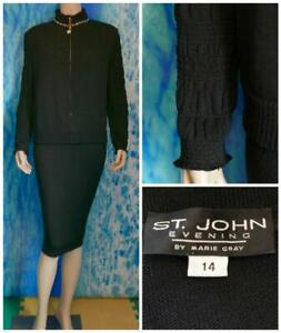 St. John Evening Black Jacket  XL 16  14 18 Suit Blazer Rhinestones Trim Sparkle
