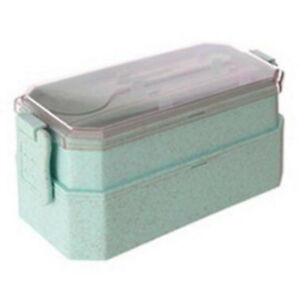 Kids Adults Double Stackable Bento Box Sealed Separated Lunch Box w/Cutlery Part