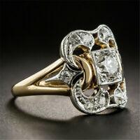 Cool 18K Yellow Gold Filled White Topaz Ring Wedding Women Man Jewelry Sz6-10