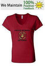 United States Marine Corps Proud Woman Veteran V Neck T Shirt
