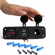 Triple Dual 2Port USB Charger Voltmeter 12V Socket Marine Power Outlet Plug 3.1A