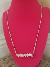 Brand New! Hand Crafted Pink Rose Quartz Mini Raw Stone Bar Necklace - Clasp...