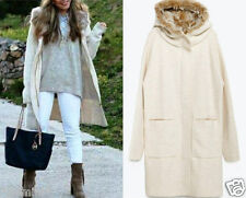 ZARA SIZE M / 38 40 KNITT COAT WITH FAUX FUR HOOD JACKET MANTEL JACKE 6873/107