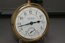 "1893 ILLINOIS ""RAILROADER"" (2-STARS, TU-TONE) POCKET WATCH 17J, 14KT.18s CASE"