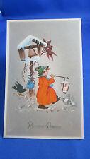 cpa illustrateur fantaisie petit garcon cloche lanterne