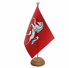 """KENT TABLE FLAG with wooden base & pole 9""""x6"""" UK FLAGS"""