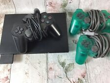 PS2 Slim Black Playstation 2 SCPH-70003 and 3 Controllers Bundle