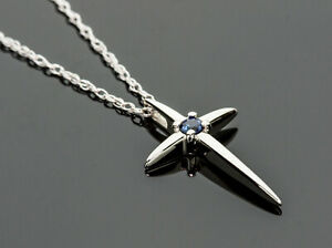 Religious Cross Pendant Necklace with Blue Sapphire Solid 14K White Gold 18 Inch