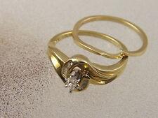 10K ENGAGEMENT WEDDING RING SET  10 KARAT GOLD MARQUISE DIAMOND WEDDING BAND SET