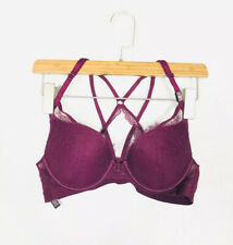 Victoria's Secret 36A Very Sexy Push up Bra, Burgundy, Lace Front Close NEW