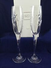(2) Mikasa Crystal Fluted Champagne Stems Wedding Bells AMAZING