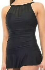 Shore Shape Women's Swimsuit Size 8 Black Swimdress High Neck Mesh Underwire