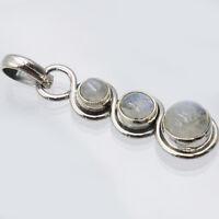 Mondstein Anhänger Silber 925 Kettenanhänger pendant blau weiß 3s ts