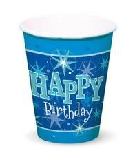 Decoración y menaje vasos de color principal azul para mesas de fiesta
