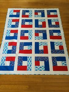 Handmade Modern Fish Red White Blue Lap Quilt Size 53 X 66