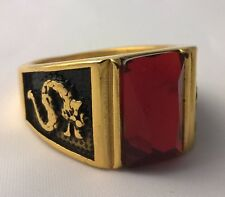 G-Filled 18ct yellow gold simulated garnet Men's Dragon ring Gents USA 9.5 AUS T