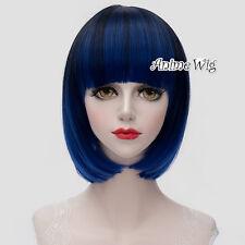 Lolita Black Mixed Blue Short 30CM Bob Fashion Party Women Cosplay Wig With Bang